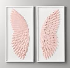 hand folded paper angel wing art pink