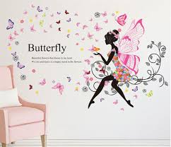 Details About Butterfly Flower Fairy Girl Removable Pvc Wall Sticker Home Decor Wall Decal Usa In 2020 Girls Wall Stickers Butterfly Wall Stickers Wall Stickers Home Decor