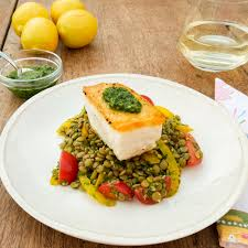 Pan Seared Halibut over Lentil Salad ...
