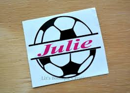 Soccer Decal Split Name Decal Vinyl Sticker Yeti Soccer Etsy