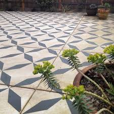 hand painted pattern cement slab patio