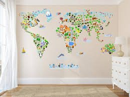 Animal World Map Wall Decal Reusable Vinyl Fabric Repositionable D Walls2lifedecals