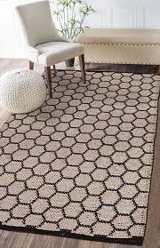 handmade jute cotton hexagon area rug