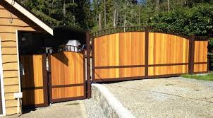 Custom Made Aluminum Gate With Wood Panels Matching Pedestrian Gate Traditional Garden Vancouver By Harbour Door Services Ltd