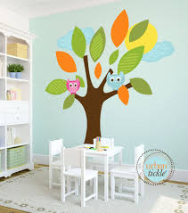 Kids Wall Decal Tree Decal Big Lush Leaves Large Decal Play Room Wall Decal Nursery Decor Baby Gift Owls And Tr Kids Wall Decals Wall Decals Tree Decals