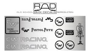 1984 Cw Pistol Pete Decal Set Old School Bmx Stickers