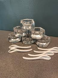 glass salt cellars and spoons six of