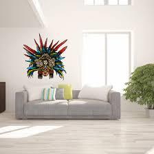 Aztec Colored Eagle Warrior Head Sticker