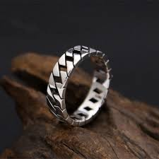 solid silver 925 mens ring simple chain