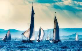 تحميل خلفيات سباق القوارب الشراعية البحر مساء غروب الشمس