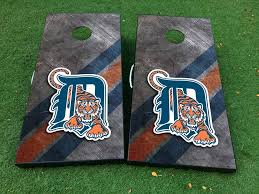 Product Detroit Tigers Baseball Cornhole Board Game Decal Vinyl Wraps With Laminated