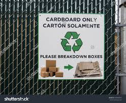 Cardboard Recycling Sign On Metal Fence Signs Symbols Stock Image 783848992