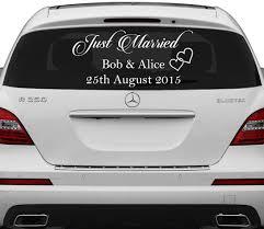 Amazon Com Slaf Ltd 31 X 16 Just Married Custom Personalized Vinyl Decal Write Your Names Date Sticker Wedding Day Car Back Window Mirror Free Random Decal Gift Home Kitchen