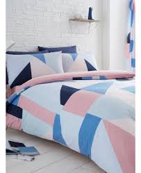 pink geometric single duvet cover