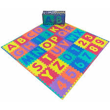 Ottomanson Eva Foam Mat Collection Kids Alphabet And Numbers Design 72 In X 72 In Yoga Mat Efm 36 Abc The Home Depot
