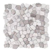 white fireplace pebble rock tile