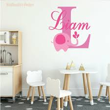 Girl Baby Elephant Name Initial Wall Decal Vinyl Sticker For Home Decor For Sale Online