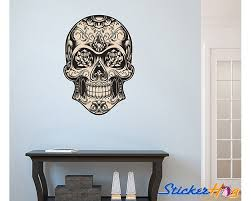 Mexican Sugar Skull Wall Decal Dia De Los Muertos No Roses Art Vinyl Wall Decal