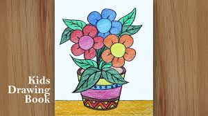 step pencil colour flower pot drawing