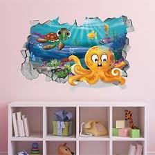 Hole In The Wall 3d Wall Decal Cartoon Sea Turtle Animals Kids Nursery Decor Ebay