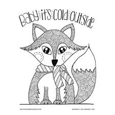 winter fox coloring page