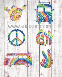 Tie Dye Hippie Decals Vw Van Decal Peace Sign Decal Shaka Hand Deca Slrustic