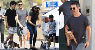 Simon Cowell, Lauren Silverman and kids walk their dogs in ...