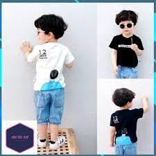 Quần áo bé trai 💙 Hàng Cực Đẹp 💙 FREESHIP 💙 Áo phông Cotton Quần Jean  Hàn Quốc SAQ802805.1 💙 Màu Đen Trắng