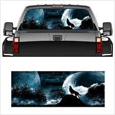 Wolf Howls Snow Moon Sky Galaxy Car Suv Car Truck Rear Window Car Sticker Wish
