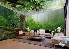 3d Forest Fog Tree Top Ceiling Entire Living Room Wallpaper Wall Mural Idecoroom