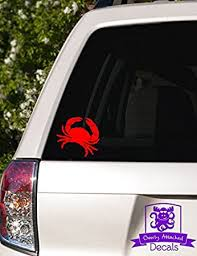 Amazon Com Overly Attached Decals Crab Vinyl Car Decal 10 Red Automotive