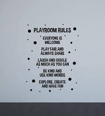 Amazon Com Playroom Rules Poster Wall Decal Play Room Sign Nursery Boy Girl Bedroom Door Vinyl Sticker Kids Quote Children Decor Playroom Wall Made In Usa Fast Delivery Home Kitchen