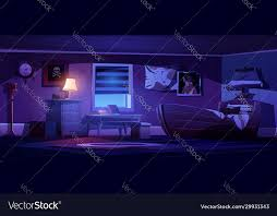 Kids Bedroom Interior In Pirate Thematic At Night Vector Image