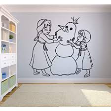 Amazon Com Elsa Anna Olaf Frozen Wall Decals For Kids Rooms Let It Go Decor Girls Children Creative Animated Vinyl Decal Removable Stickers For Bedrooms Artwork Child Favorite Decoration Size 25x30 Inch Home