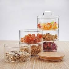 glass jar container set with bamboo