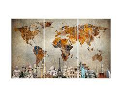 world map canvas wall art print accent