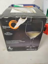 4 Stolzle Lead-Free Crystal 15oz Adela White Red Wine Glasses Port Germany  for sale online