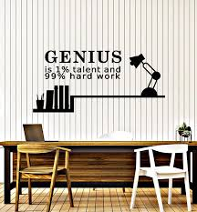 Vinyl Wall Decal Genius Talent Hard Work Quote Words Motivation Sticke Wallstickers4you