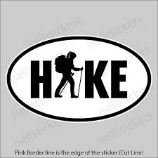 Hiking Girl Woman Hike Mountains Euro Window Decal Bumper Sticker