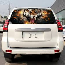 3 Sizes Car Sticker Flame Tiger Scalp Rear Window Graphic Decal Tint Sticker For Truck For Suv Jeep Car Stickers Aliexpress