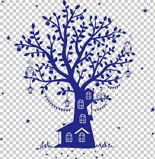 Fairy Tale Wall Decal Silhouette Tree House Png Clipart Animals Area Art Blue Background Blue Owl