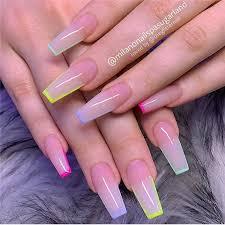 summer coffin acrylic nail designs