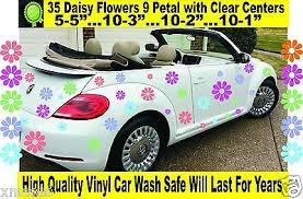 Gray Flowers Vw Beetle Flower Magnetic Decal