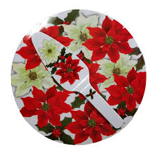 poinsettia cakeplate serving