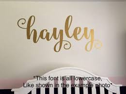 Name Wall Decal Personalized Vinyl Decor Girls Wall Decoration Gold Name Decal Curly Script Personalized Nursery Wall