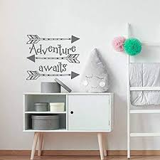 Amazon Com Adventure Awaits Nursery Decal Arrow Wall Decal Playroom Wall Decal Nursery Wall Decal Adventure Quote Wanderlust Travel Theme Decor Home Kitchen