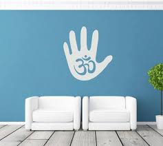 Ik1782 Wall Decal Sticker Hindu Om Symbol Hand Living Room Yoga Stickersforlife