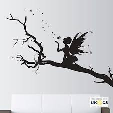 Angel Trees Stars Fairy Fairytale Wall Art Stickers Decals Vinyl Decor Room Home Wall Decals Stickers Home Fairy Silhouette Angel Wall Art Fairytale Art