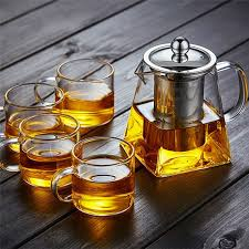 glass teapot jug with infuser