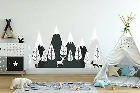 Mountain Wall Decal For Nursery Woodland Forest Animal Kids Room Decor Fs18 Ebay